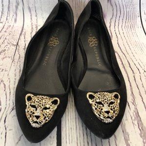 Rock & Republic black gold cheetah bling flats